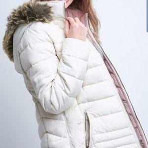 NWT Reversible Faux Fur Trim Hooded Coat